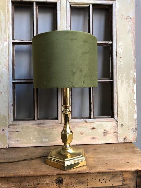 messing gouden tafellamp met nieuwe velours kap