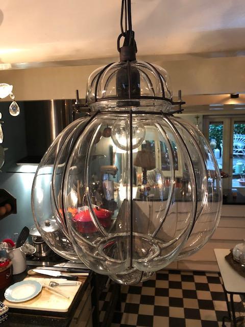 Brocante glazen hanglamp