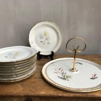 Vintage gebaksbordjes en serveerschaal porselein (Limoges)