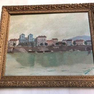 Oud Frans olieverf schilderij met mooie lijst van A. Lagarde