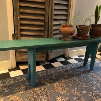 Landelijk houten bankje azuurblauw/groen