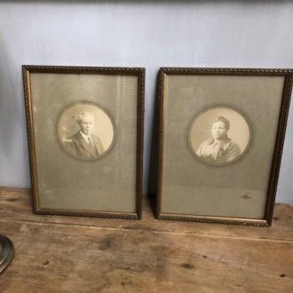 Set oude lijstjes met portretjes
