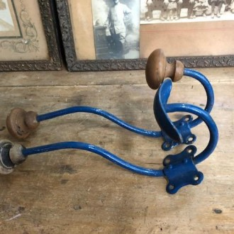 Set vintage kapstok haken blauw