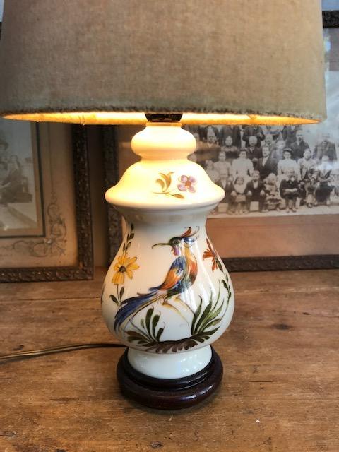 Frans tafellampje met vogel
