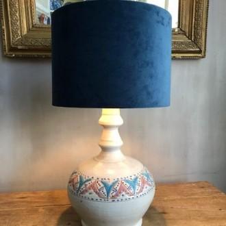 Oude Franse keramieke tafellamp met nieuwe velours kap