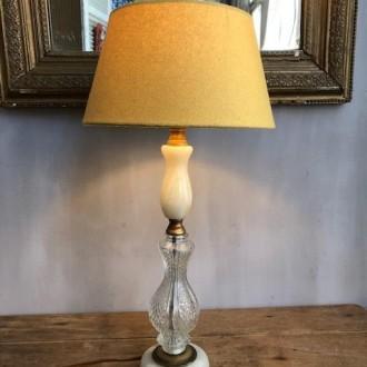 Vintage tafellamp met onyx en glas