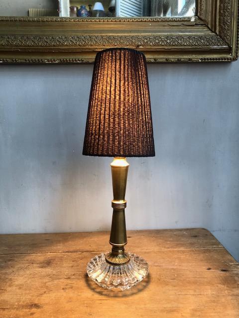 Vintage Frans tafellampje met glas en messing
