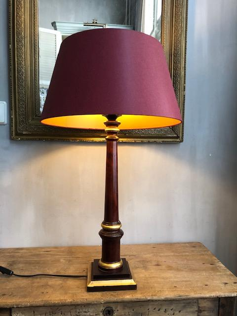 Brocante houten tafellamp