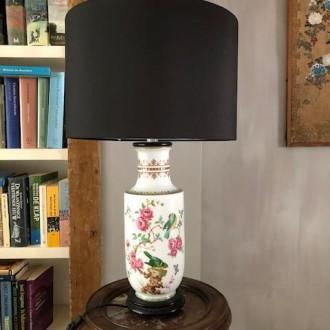 Oude Franse tafellamp met vogels