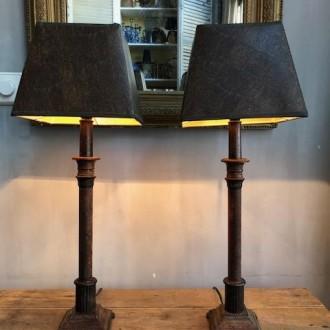 Set klassieke metalen bedlampjes
