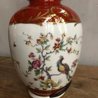 Franse vaas lamp met vogels keramiek