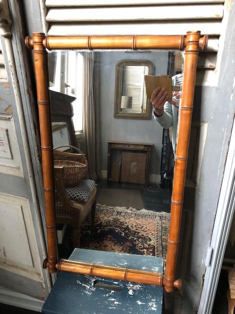 Vintage faux bamboe spiegel