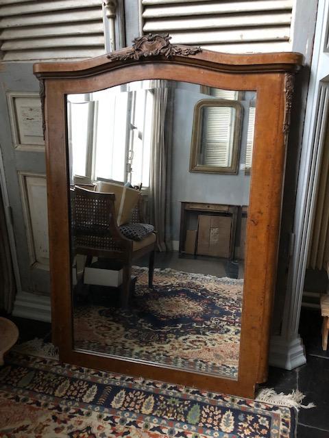 Antieke houten schouw spiegel