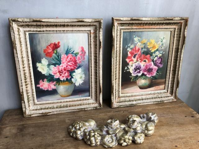 set vintage olieverf schilderijtjes