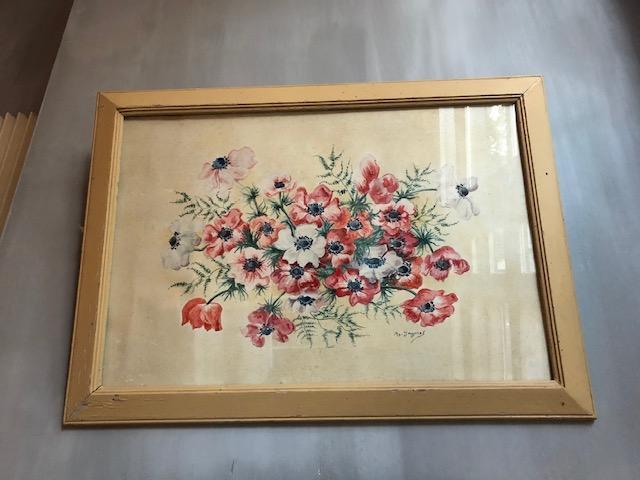Brocante schilderij met anemonen