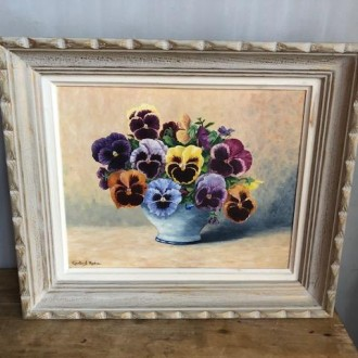Vintage olieverf schilderij bloemen stilleven