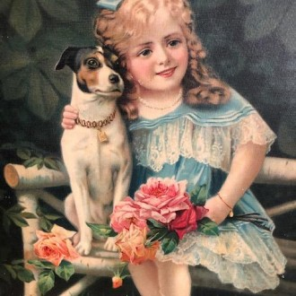 Vintage plaat met meisje en hond