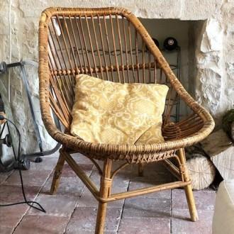 Vintage Franse rotan fauteuil