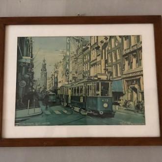 Oude Amsterdamse foto van tramlijn 5 in de Reguliersbreestraat (1963)