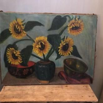 Oud olieverf schilderij met zonnebloemen gemberpot