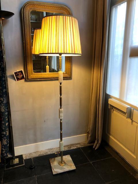 Vintage vloerlamp met onyx en messing