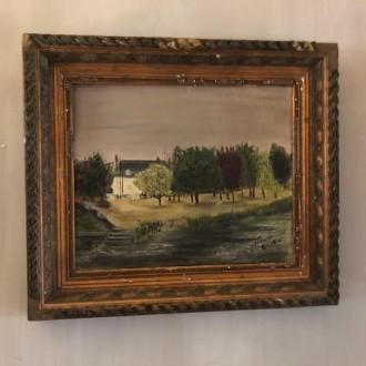 Olieverf schilderij met uitzicht op de Seine