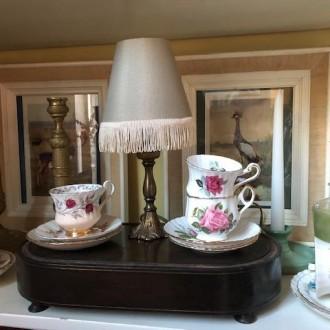 Klein vintage lampje met nieuwe kap