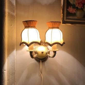 Vintage onyx en messing wandlampje