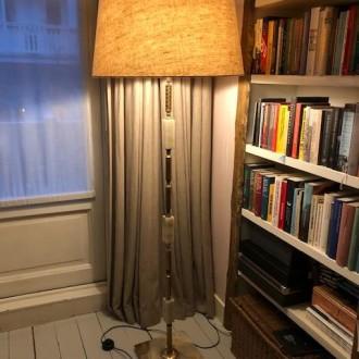 Vintage vloerlamp met onyx en messing | Verkocht
