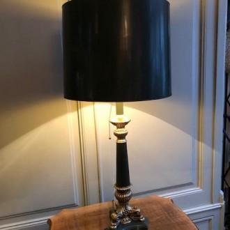 Vintage Hollywood Regency tafellamp groen en messing