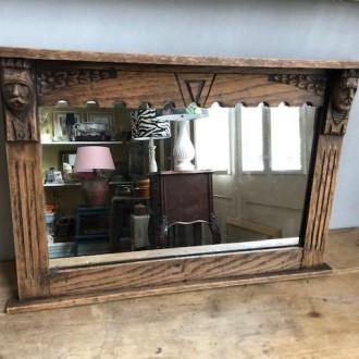 Houten spiegel met 2 kopjes rechthoekig (33 x 48 cm)
