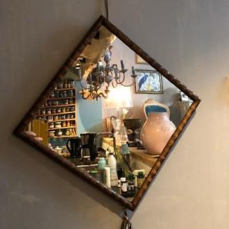 Oud faux bamboe spiegeltje vierkant