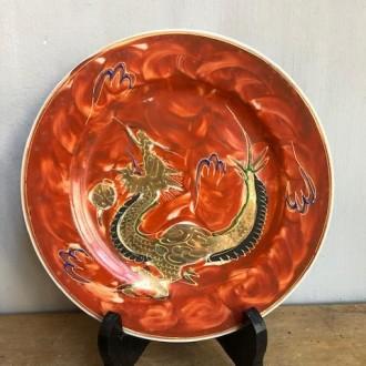 Vintage handgeschilderde Japanse bordjes / porcelain dragon plates MF Japan (6)