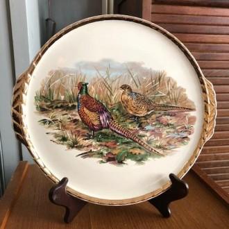 Vintage serveerschaal met fazanten (Salins)   Verkocht