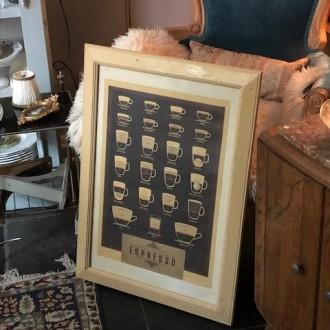Oude Franse houten lijst met poster van soorten koffie