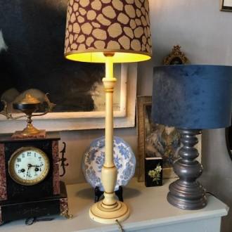 Hoge tafellamp mid century met panter print