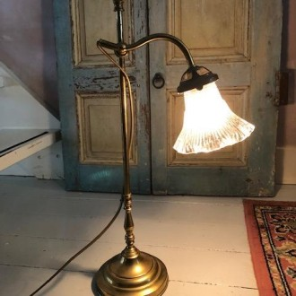 Antieke Franse koperen tafellamp