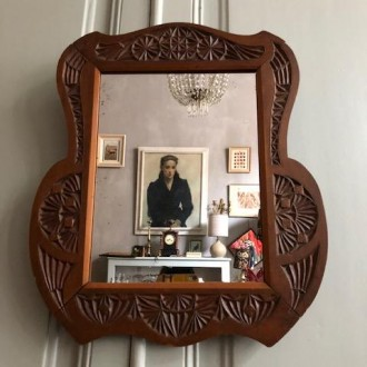 Bewerkte houten spiegel begin 20e eeuw