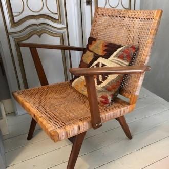 Vintage fauteuil met webbing
