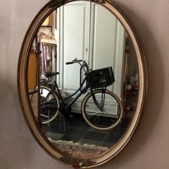 Mid century ovale spiegel met bloemetjes | Verkocht